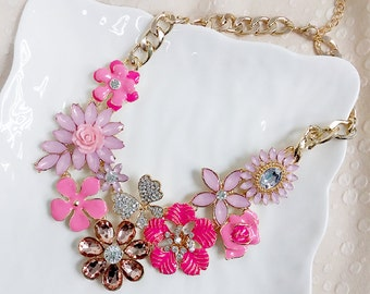 Pink Flower Statement Necklace, Bib Necklace, Bridesmaids Necklace, Fashion Party Necklace