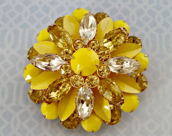 Vintage Brooch, Large Yellow Dahlia Pin, Faux Citrine and Clear Rhinestones, Yellow Metal Petals & Lucite Stones, Mid Century, Circa 1960s