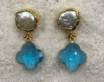 Pearl Post Earrings with Blue Topaz Clover drops