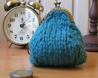 Coin Purse Knitted in Teal Chunky Wool