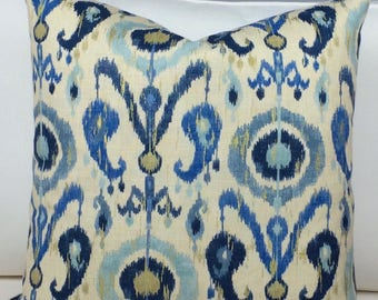 Blue Ikat Pillow Cover, Accent Pillow, Blue Pillow Cover, Linen Pillow Cover, Modern Pillow Cover