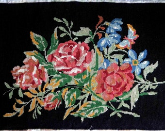 Vintage roses needlepoint tapestry, black ground roses needlepoint