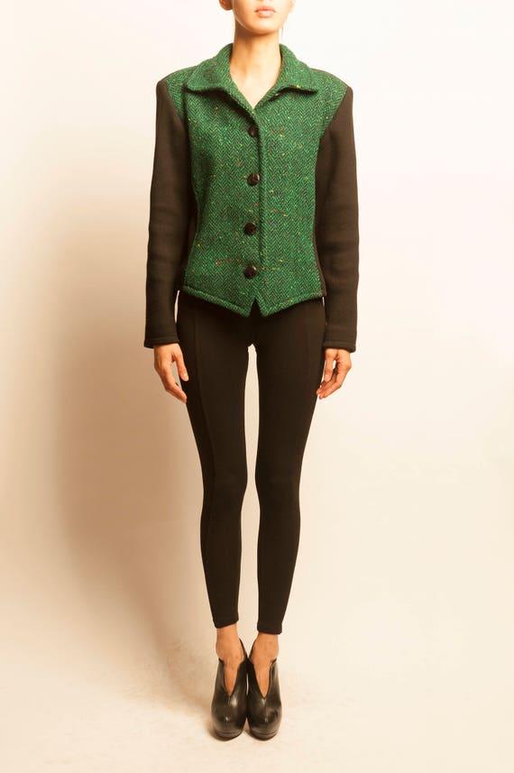 Yves Saint Laurent 1980's bi-color wool knit short jacket