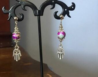Hamsa drop earrings