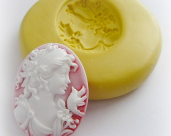 Victorian Lady Cameo Mold Clay Resin Soap Mould