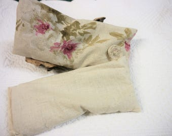 Eye Pillow - Heat Pack with Removable Cover -  Peaony Roses on  a Beige Linen   - Handmade