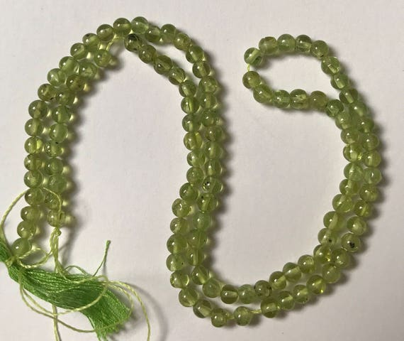 "1 Strand of Peridot Beads, 14"", about 95 Pieces, Green Color, Treated Gemstone, Small Size, 4mm, Round Shape, G1"