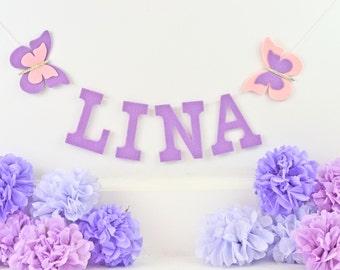 """Uppercase Felt Letters w/ Glitter Felt Butterfly Banner / Custom Baby Name / Smash Cake Baby Shower Nursery Decor / Other Colors / 4"""" Uppers"""