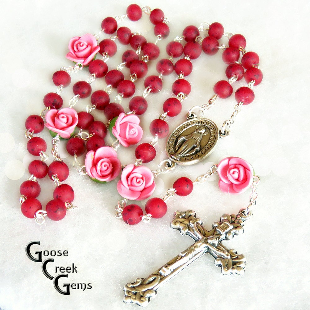 Soft ceramic rose pater beads rose petal bead rosary example zoom izmirmasajfo Image collections