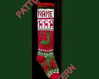 Pattern only  ---  Hand knit Christmas stocking,  Lots of reindeer