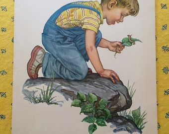 """Vintage Lithograph Print, """"God Made All Things"""" by Charlotte Ware, Kindergarten Teaching Picture, 1960's"""