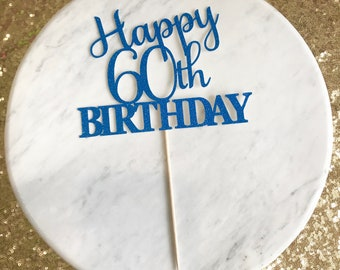 60th cake topper, number cake topper, birthday cake topper, glitter cake topper