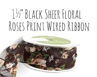 "1 1/2"" Black Floral Print Ribbon, 1.5 Inch Wired Ribbon, Sheer Organza Ribbon, Red Roses Floral Print Ribbon, Gift Wrap, Wedding Supplies"