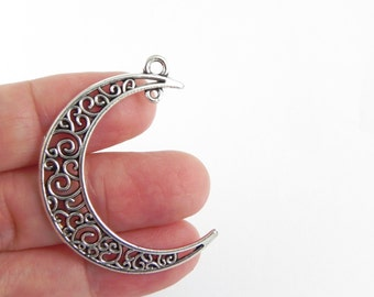 5 Moon Charms - additional loop for a dangle - Antique Silver ~ 37mm x 8mm - Filigree
