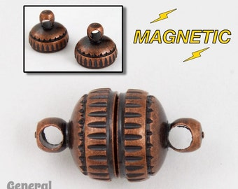 8mm Antique Copper Round Magnetic Clasp #CLD045