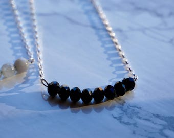 Silver necklace with spinel - handmade - real gemstones