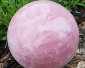 Rose Quartz Crystal over 8 lb, Large Rose Quartz Sphere, Crystal Ball, Crystal Sphere, Gemstone Ball, Rose Quartz Ball