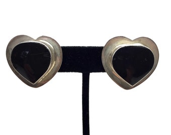 Sterling Silver and Onyx Heart Clip On Earrings Signed Mexico
