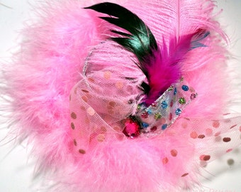 Girls Pink Feather Party Top Hat Birthday Fascinator
