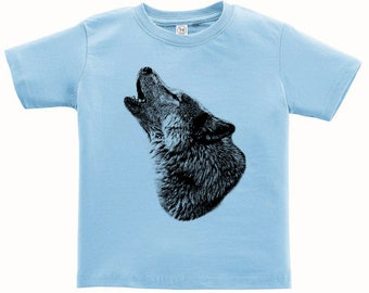 CLEARANCE, Kids Clothing, Toddler, Howling Wolf Tshirt, Wolf T Shirt, Wildlife, Wild Animal Tee, Youth,