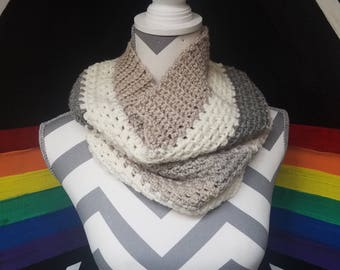Grey, Tan, White Cowl