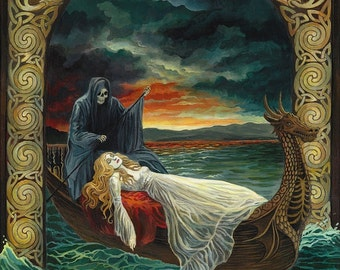 Death Tarot Art 11x14 Fine Art Print Pagan Mythology Celtic Goddess Art