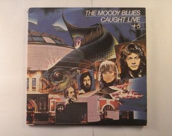 The Moody Blues vinyl record album, The Moody Blues Caught Live +5 vintage vinyl record