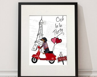 Dachshund gift - Dachshund in Paris Eiffel Tower print valentines gift for lovers paris lover gift for wife dog lover funny dachshund moped
