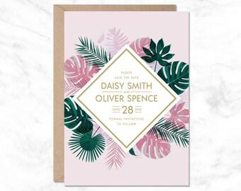 Tropical Save The Date, Palm Leaf Invite, Wedding Invitation Template, Tropical Wedding, Destination Wedding, Hawaii Wedding, Printable
