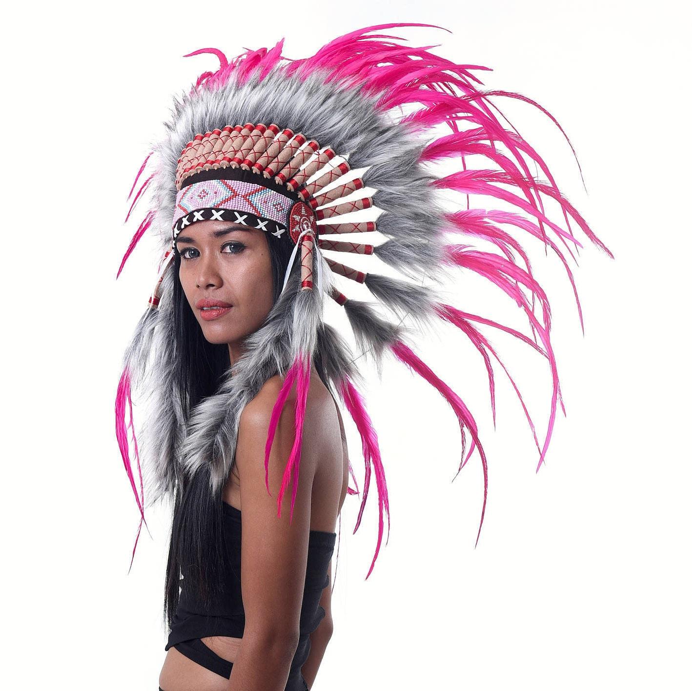 penacho de plumas rosa estilo indio corto tocado jefe indio