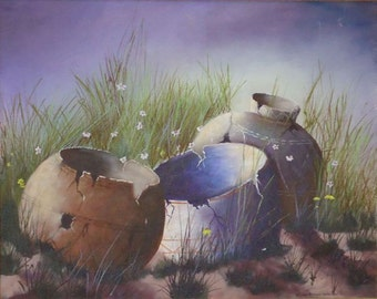 Landscape Still Life Painting of Old Clay Pots.