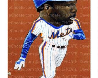 Mookie Wilson, New York Mets, 1986 World Series Art Photo Print