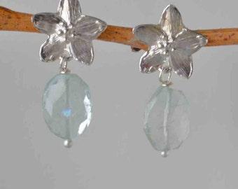 Aquamarine and Silver Flower Earrings - Natural Aquamarine Botanical Earring- March Birthstone, Aquamarine Dangle Earrings on Post