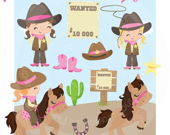 Pink Cowgirl Clipart, Pink Western clipart, Western Girl clipart, Pink Western digital papers, Commercial License Included