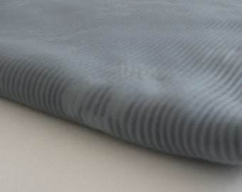 Gray vintage CRINKLED FLORAL POLYESTER, measures 54 inches by 1.75 yards