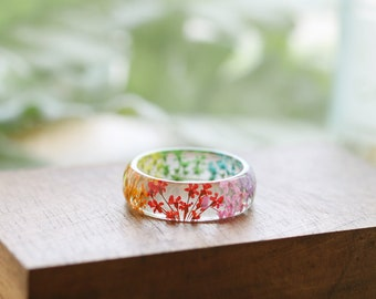 Real Flower Ring - Rainbow Lace Flowers, Botanical Jewellery , Baby's Breath, Pressed Flower Ring , Nature Jewellery , Handcrafted Ring