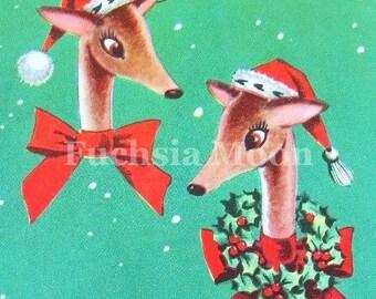 DIGITAL DOWNLOAD Sweetest Vintage Mid Century Modern Reindeer Chritmas Greeting Card Image