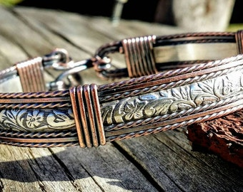 Silver, Copper, hand crafted wore wrapped, Sterling silver, antiqued jewelry
