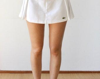 Vintage Lacoste High Waisted Pleated White Tennis Skirt   Crocodile   Retro 50s 70 Mini Skirt