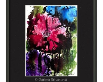 Abstract painting Original mixed media flower painting ink painting abstract floral painting on 9X12inch 200lb Acid free Watercolor paper