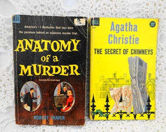 """Vintage Mid Century Pair 1950's Dell Pocket Books Agatha Christie """" The Secret of Chimneys"""" and """" Anatomy of A Murder"""""""