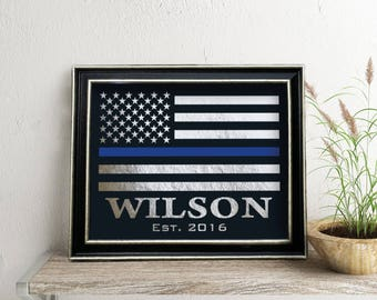 Police Officer Gift,  Law Enforce sign, Personalized Thin Blue Line Flag