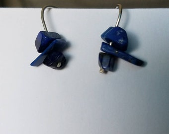 Sterling silver and triple stone short drop earrings. Lapis lazuli