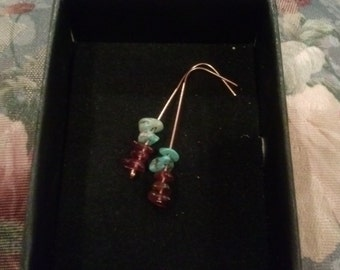 Amethyst and Turquoise Copper Dangle Earrings