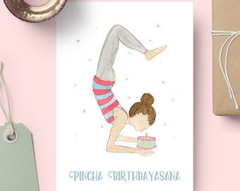 Pincha Birthdayasana - Yoga Birthday Card // Yoga Pose Greeting Card // Blank Inside // Yogi Birthday // Yoga Gift