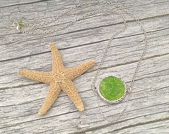 Lime Sea Glass and Silver Chain Necklace - Crushed Beach Glass Pendant - Florida Beach Wedding Jewelry - OOAK