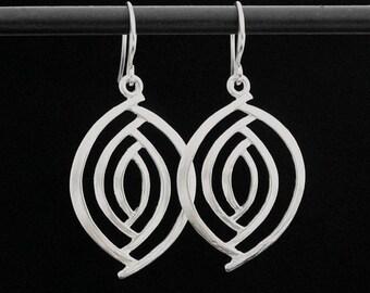 On Sale Matte Gold or Matte Silver Geometric Dangle Earrings