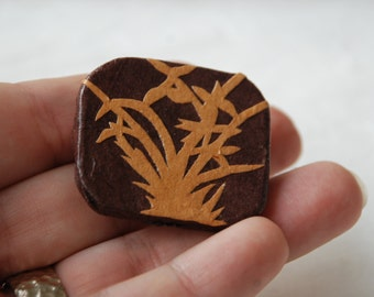 Brown Brooch Hanji Paper Pin OOAK Dress Clip Bamboo Design Brown Beige Stainless Steel Pin Handmade