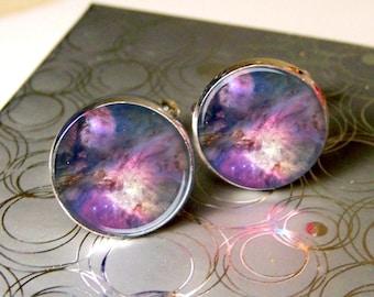 Mens Cufflinks, Nebula Photo Cufflinks, Galaxy Image Cufflinks, Unique Mens Gift