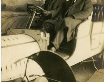 "Antique RPPC Photo ""Fast Drivers"" Classic Car Prop Vintage Real Photo Postcard Black & White Photograph Old Paper Ephemera Vernacular - 71"